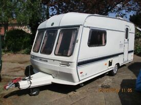 Classic Buccaneer Elan14 1990 caravan with motor mover. In very good condition