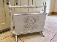 Beautiful solid wood shabby chic magazine rack storage up-cycled with Annie Sloan