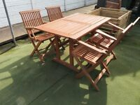 6 seater wooden garden set.