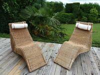 Wicker sun loungers x 2