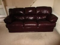 Settee - 3 Seater - Red Leather - Excellent Condition