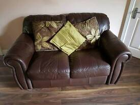 Leather Sofas & Footstool in Chocolate Brown