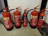 Fire extinguishers - water, Foam and CO2 - unused and tested - only £30 for all of them