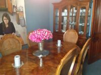 ANTIQUE DINING TABLE, CHAIRS AND UNIT
