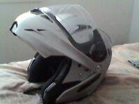 Large takashi helmet front visor comes up with a sun visor comes down