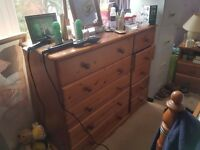 10 drawer pine chest of drawers with mirror