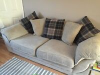 Beautiful sofa suite 2 and 3 seater fabric beige with tartan blue cushions- 1 year old!