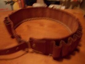 Tan leather 20 bore cartridge belt