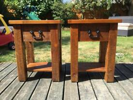 2 x solid wood bedside table - whatnot antiques £200 when new