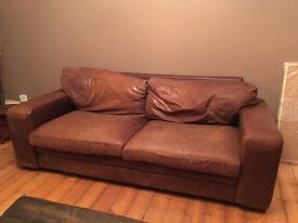 Free distressed leather sofa - must collect
