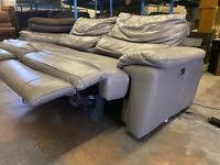 HARVEYS GREY LEATHER SOFA ELECTRIC RECLINER VERY NICE REAL LEATHER + FREE DELIVERY