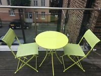 Rattan garden furniture, table and chairs, and BBQ combo
