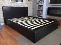 Leather double bed with storage