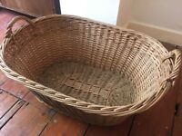 Vintage Retro Wicker Basket Large Laundry or Firewood