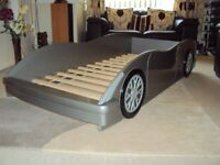 Child's car bed - silver; excellent condition; normal single bed size mattress(not included) £65