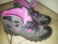 Pink and black walking boots Size 5