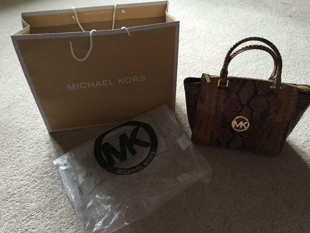 979f77fadef7 Michael Kors Sand Python Embossed Hudson Satchel Handbag Bag BN