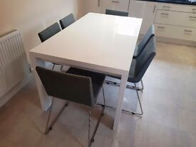 HABITAT white high gloss dining table and 6 grey chairs in excellent condition