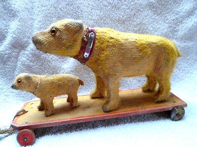 Alter Bär Bärenfamilie Masse Gips Holzbeine Mohair Vorkrieg Rar