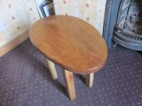 Solid oak and elm egg shaped table/stool
