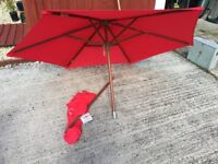Brand New Red Wooden Parasol for Grass