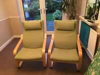 2 Green Ikea Armchairs. Excellent condition.
