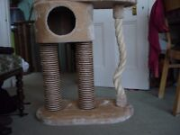 cat tower/ playhouse scratchier for sale. beige ,brand new, £20.-