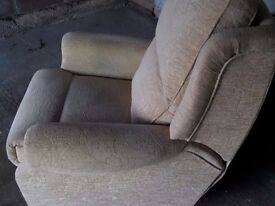 Reclining Armchair, Cream Fabric, Excellent Condition