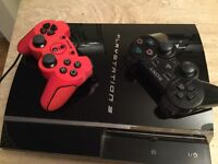 PS 3 console, 2 Controllers, numerous games