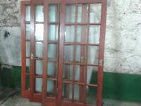 JOB LOT WOODEN DOORS . 4 x INTERNAL GLAZED + MAHOGANY FRONT . inc brass fittings . £100 lot