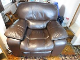 Brown Leather Electric Recliner Seat