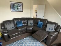 FURNITURE VILLAGE CHOCOLATE BROWN ELECTRIC RECLINER CORNER SOFA - MUST GO TODAY-CHEAP DELIVERY -£395