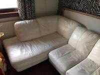 FREE TO UPLIFT WHITE LEATHER CORNER COUCH