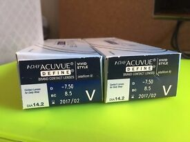 Free 43 one day acuvue define vivid style D-7.5 BC8.5 DIA 14.2 Paypal accept