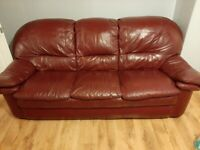 Free Red real leather 2 and 3 seater sofa