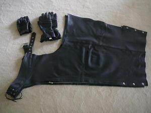 """Men's """"Genuine Leather"""" Motorcycle Chaps - PRICE REDUCED"""