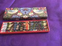 Brand new boxed Victoria & Albert pencils set with attached erasers x 6