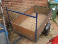 Car Trailer 5ft x 3ft withy light board & drop tail gate VGC