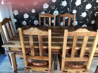 Mexican pine dining table with 6 chairs