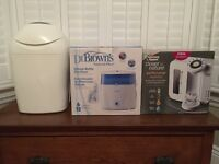 Dr Brown bottle steriliser, tommee tippee prep machine and tommee tippee nappy bin