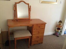 Pine Dressing Table & matching free standing Mirror