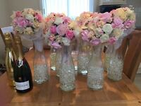 Beautiful Wedding Centrepieces, Glass Vase with Handmade Foam Flowers x 10 for Sale