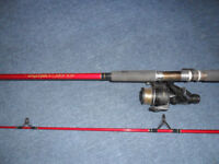 fishing rod and reel silstar mx 3505 270 2 piece spin rod /diawa bait runner reel