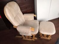 Kub Chatsworth Glider Nursing Chair and footstall, Cappuccino/ Natural Wood