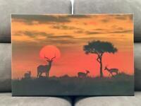 Africa Sunset Wildlife Safari Canvas Wall Art Picture Print