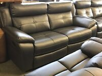 HARVEYS LANGDALE RECLINER GREY 3 AND 3 SEATER SOFA PLUS ARMCHAIR THREE HARD WEARING LEATHER