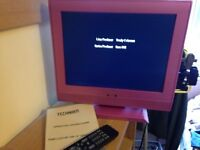 "Technika pink 15"" colour LCD TV with remote"