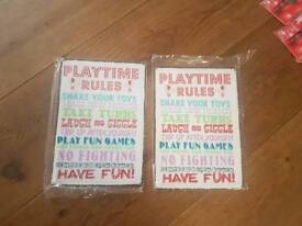 Play time rules new metal sign