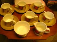 Vintage, retro 1970s J&G Meakin Studio Pottery St Clements cups saucers plates sugar bowl cream jug