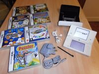 "NINTENDO DSi LITE "" White "" >> Including >> 7 GAMES, & LEATHER CASE."